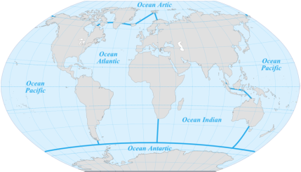 Oceans Continents And Oceans - Major oceans of the world map